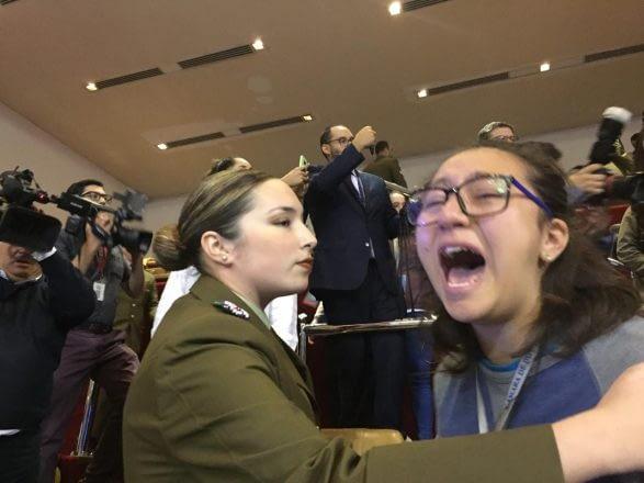 La aprobación del TPP-11 en la Cámara de Diputados generó la reacción de las organizaciones sociales que rechazaban la ratificación del mismo. La Sala tuvo que ser desalojada.