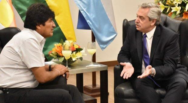 El candidato de Bolivia, Evo Morales, y su par argentino, Alberto Fernández.